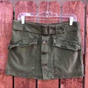 ❤️ FREE PROPLE - Olive Green Button Buckle Skirt 4